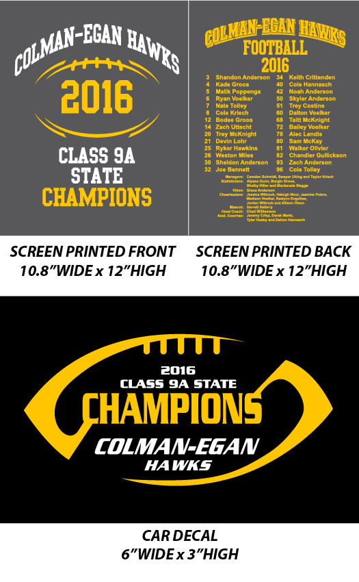 Colman-Egan Football State Champs 2016 - WEBSTORE CLOSED