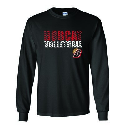 Bobcat Volleyball 2016 02 Adult and Youth 50/50 Cotton Poly Blend Long  Sleeve T Shirt