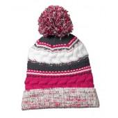 Pom Pom Beanie Hats 04 Pink Raspberry