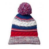 Pom Pom Beanie Hats 08 Red & Royal