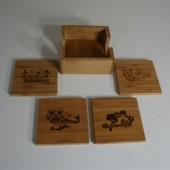 I29 Sports Friends & Family Holiday Web Store 12 Laser Engraved Bamboo Coaster set