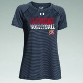 Bobcat Volleyball 2016 04 Mens and Ladies Under Armour Stripe Tech Short Sleeve T Shirt