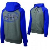 SDSU Football 2016 09 Adult Sport Tek Raglan Colorblock Hooded Full Zip Sweatshirt