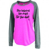 Always Believe Unique Tees 02 Pennant Ladies Raglan Jersey Long Sleeve Tee