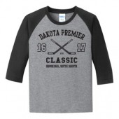 Dakota Premier Hockey Peewee A & B 2016 02 Adult (Triblend) and Youth (50/50 Blend) ¾ Sleeve T Shirt