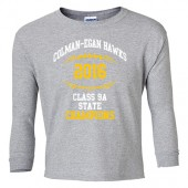 Colman-Egan Football State Champs 2016 03 Youth 50/50 Cotton Poly Blend Long Sleeve T Shirt