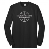 SD North Stars Basketball 05 Adult 50/50 Cotton Poly Blend Long Sleeve T Shirt (Youth shirt is 100% Cotton)