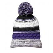 Pom Pom Beanie Hats 05 Purple